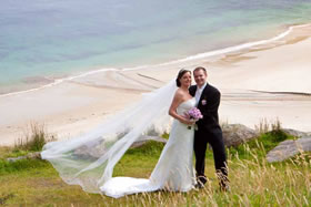 Newly-married couple at Keem Bay, Achill Island